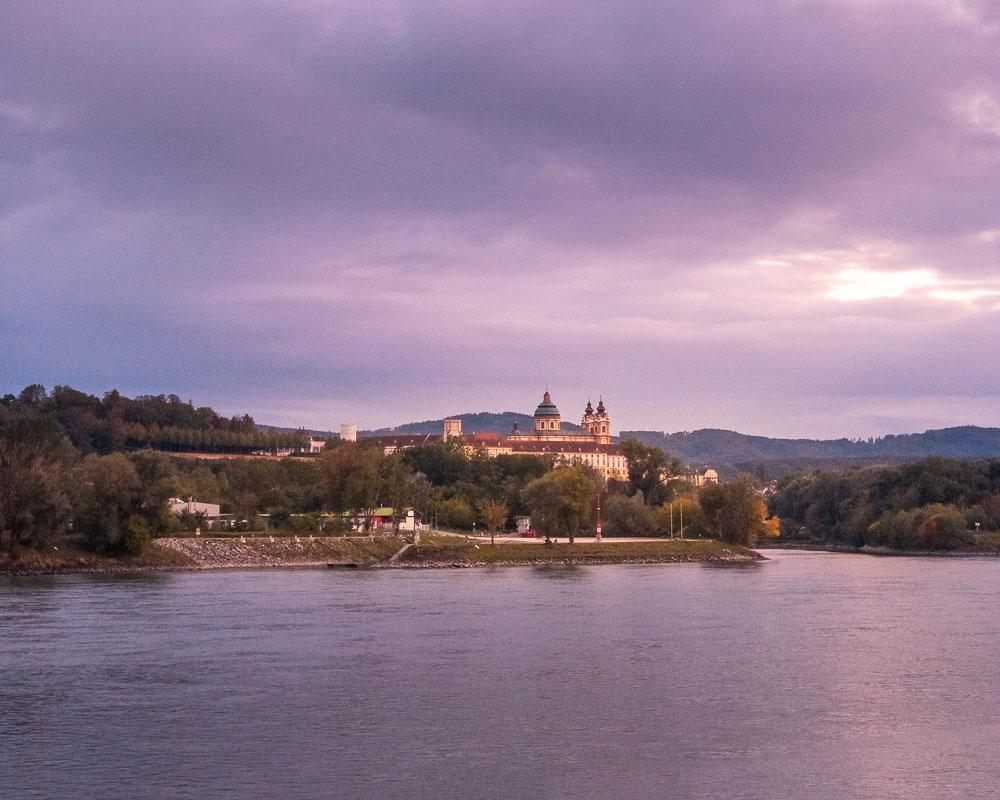 A view of Melk Abbey across the Danube